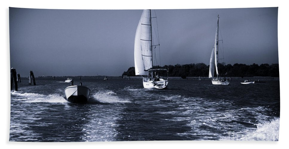 Venice Hand Towel featuring the photograph On The Water 1 - Venice by Madeline Ellis