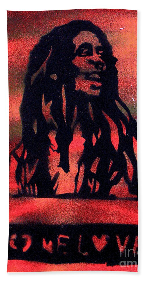Hip Hop Bath Sheet featuring the painting One Marley by Tony B Conscious