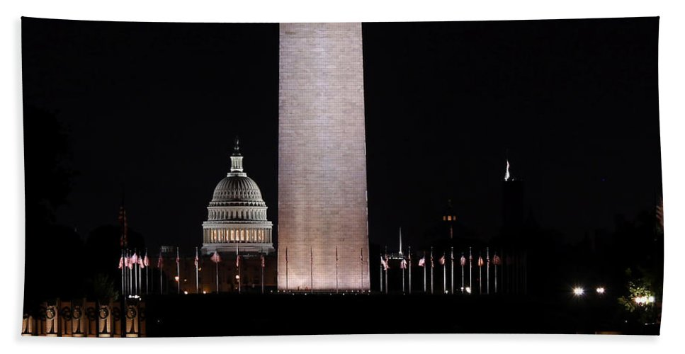 Washington Dc Hand Towel featuring the photograph One Nation by Kim Hojnacki