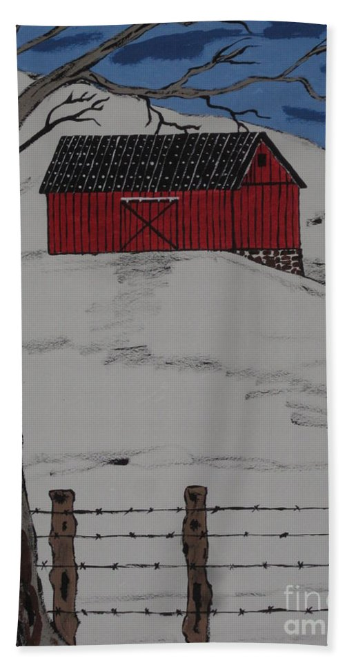 Red Barn Hand Towel featuring the painting Only A Winter Day by Jeffrey Koss