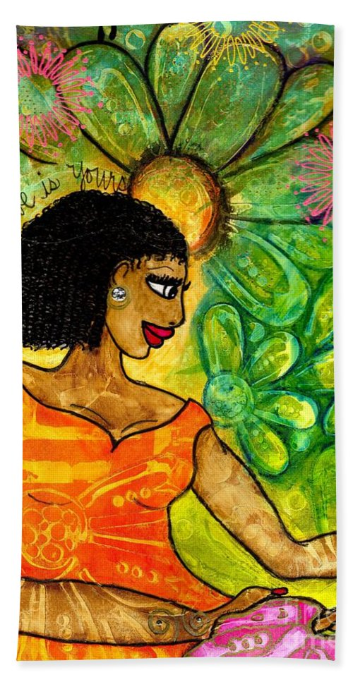 Acrylic Bath Sheet featuring the painting Open Arms by Angela L Walker