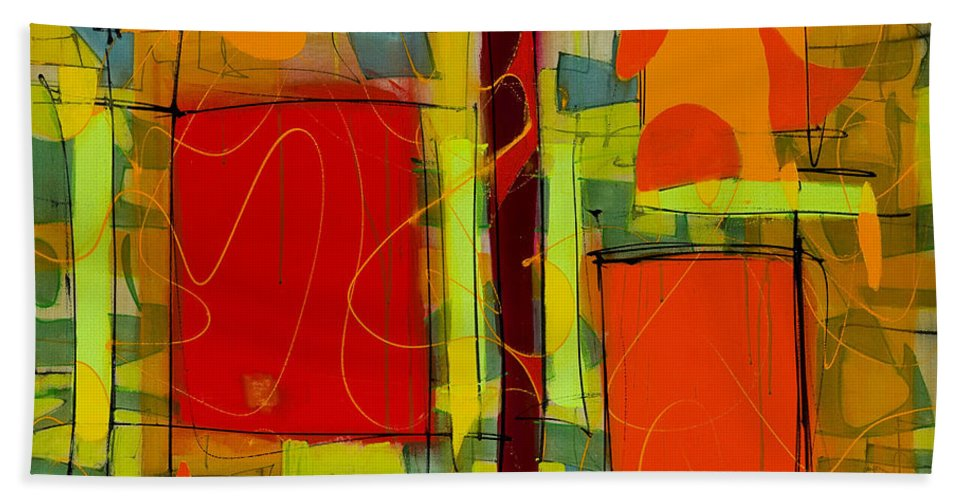 Abstract Bath Sheet featuring the painting Open Door by Lynne Taetzsch
