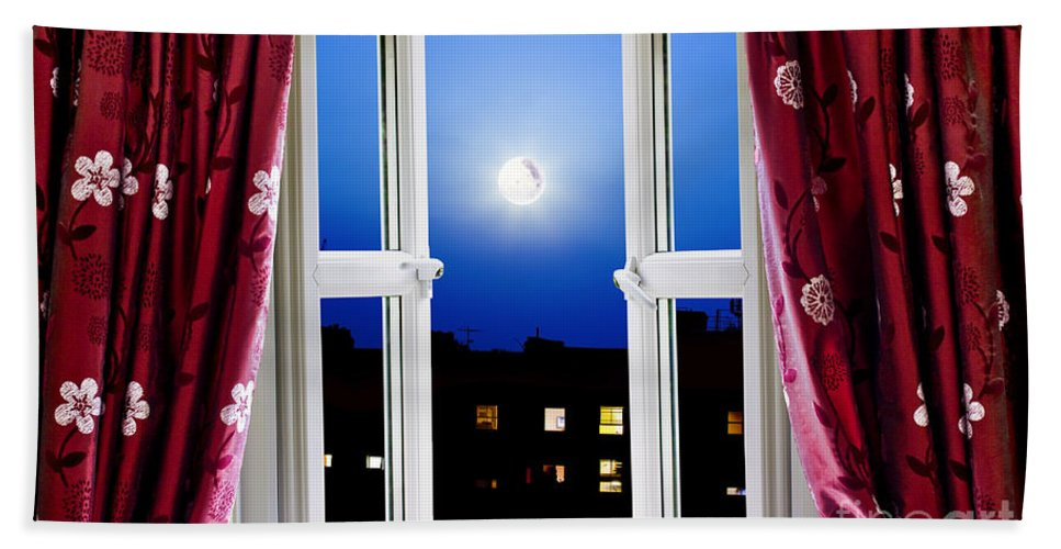 Night Hand Towel featuring the photograph Open Window At Night by Simon Bratt Photography LRPS