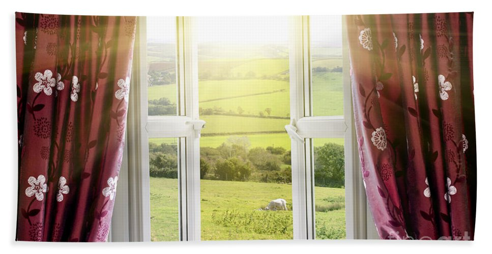 Air Hand Towel featuring the photograph Open Window With Countryside View by Simon Bratt Photography LRPS