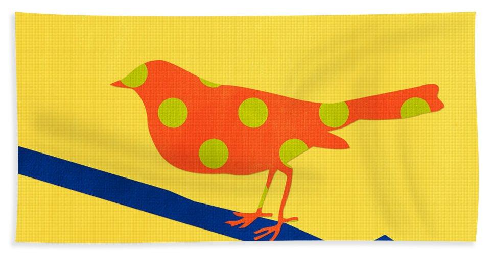 Bird Bath Towel featuring the mixed media Orange Bird by Linda Woods