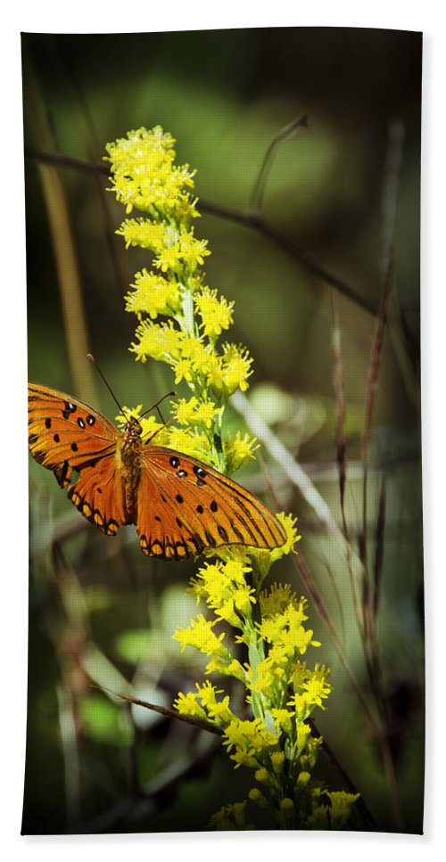 Butterfly Bath Sheet featuring the photograph Orange Butterfly On Yellow Wildflower by Carolyn Marshall