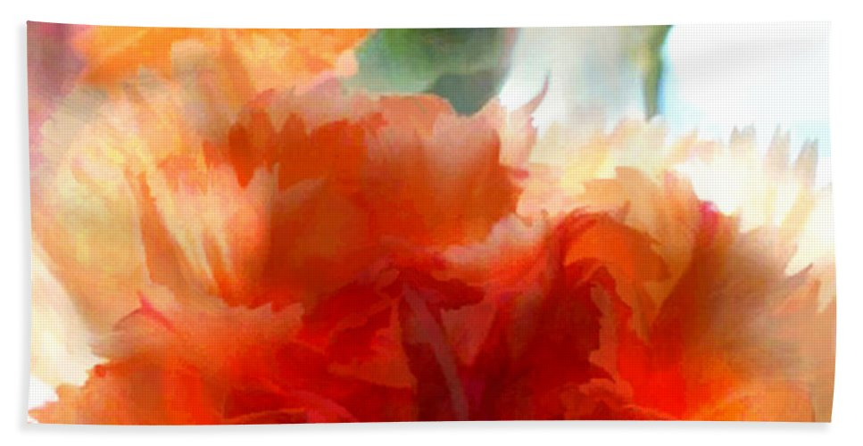 Flower Flowers Garden Carnation Carnations Flora Floral Nature Orange Natural Hand Towel featuring the painting Orange Carnations by Elaine Plesser