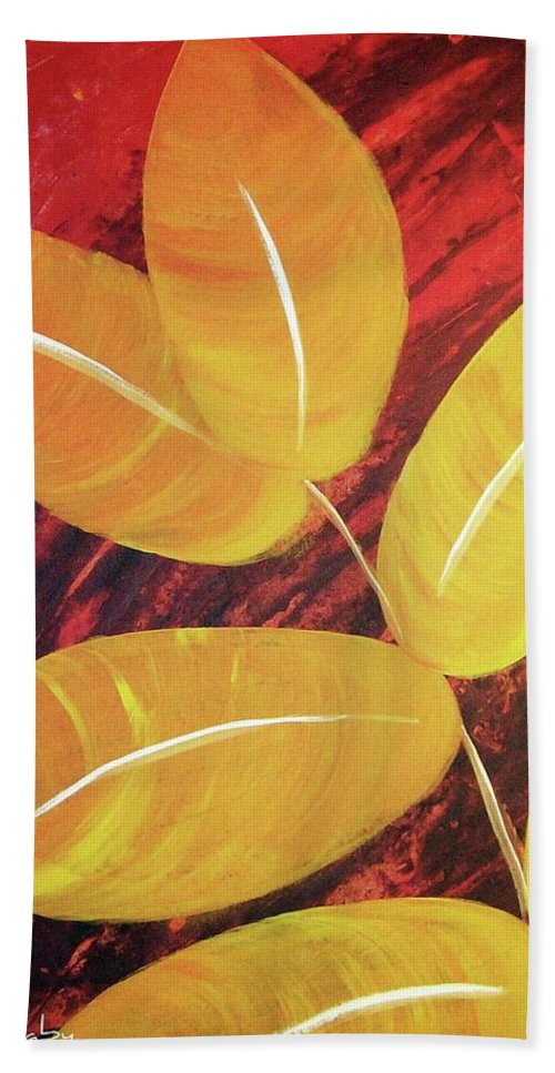 Orange Leaves Bath Sheet featuring the painting Orange Leaves by Katie Slaby