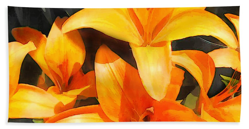 Flower Flowers Garden Lilies Lily Daylily Daylilies Orange Day+lily Day+lilies Flora Floral Nature Natural Hand Towel featuring the painting Orange Lilies by Elaine Plesser