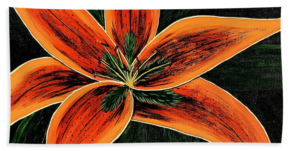 Orange Oriental Lily Hand Towel featuring the painting Orange Oriental Lily by Barbara Griffin
