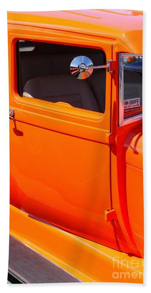 Custom Cars Bath Sheet featuring the photograph Orange Passenger Door by Randy Harris