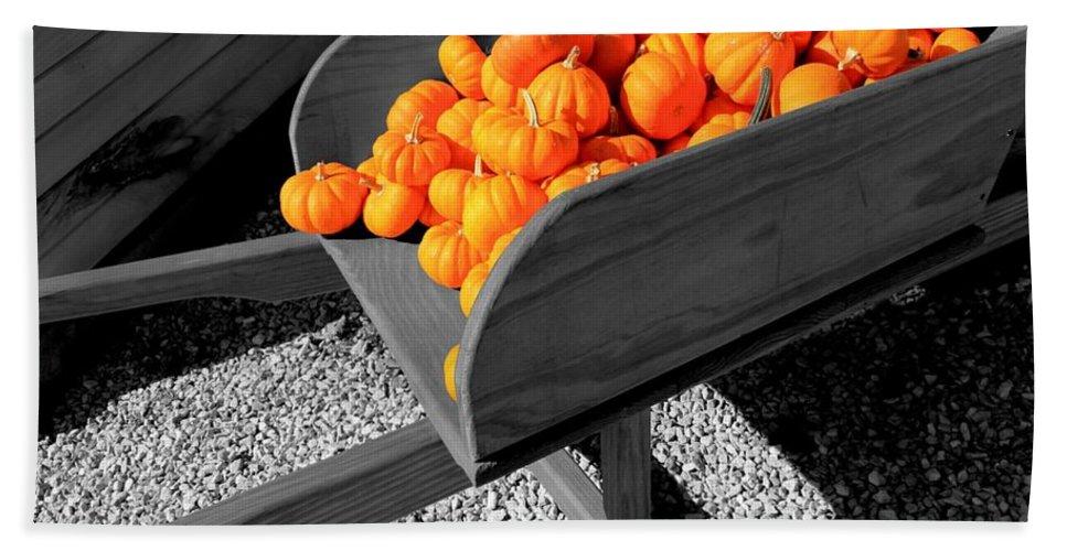 Pumpkin Bath Sheet featuring the photograph Orange Pumpkin Harvest by Betty Northcutt