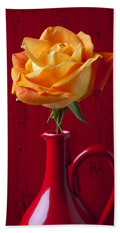 Orange Bath Sheet featuring the photograph Orange Rose In Red Pitcher by Garry Gay
