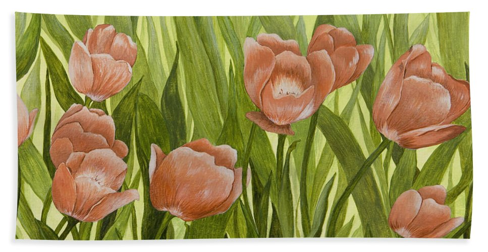 Orange Tulips Bath Sheet featuring the painting Orange Tulips by Mary Ann King