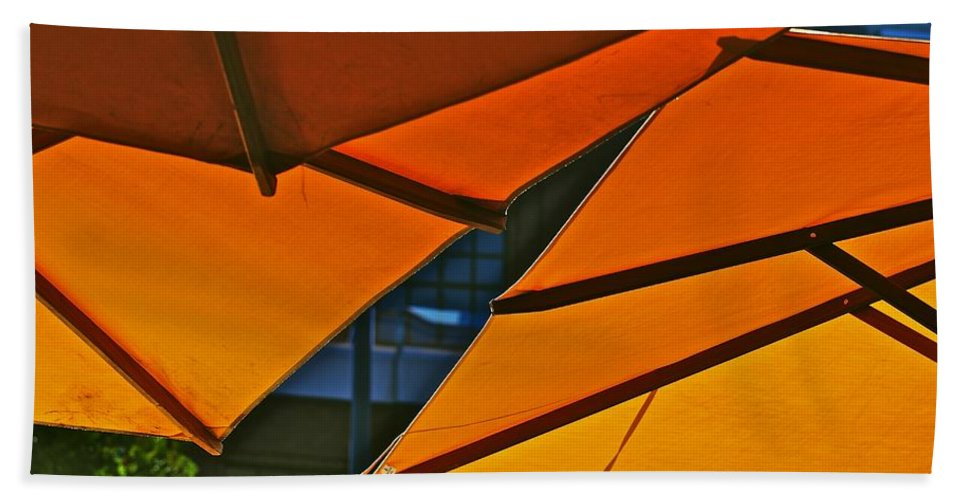 Orange Hand Towel featuring the photograph Orange Umbrella Abstract by Eric Tressler
