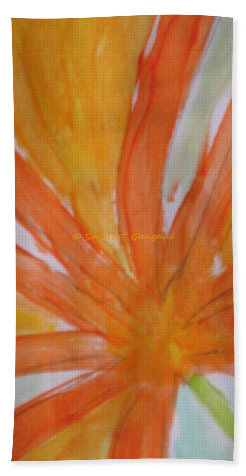 Orange Petal Hand Towel featuring the painting Oranje Bloemblaadje by Sonali Gangane