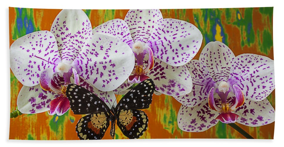 Speckled Butterfly Bath Sheet featuring the photograph Orchids With Speckled Butterfly by Garry Gay