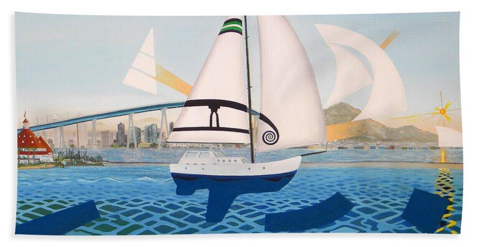 Coronado Bath Sheet featuring the painting Coronado Sailin' - Memoryscape by David Corrigan