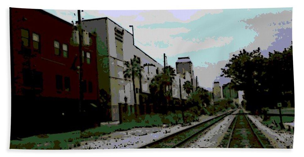 Orlando Hand Towel featuring the digital art Orlando Tracks by George Pedro