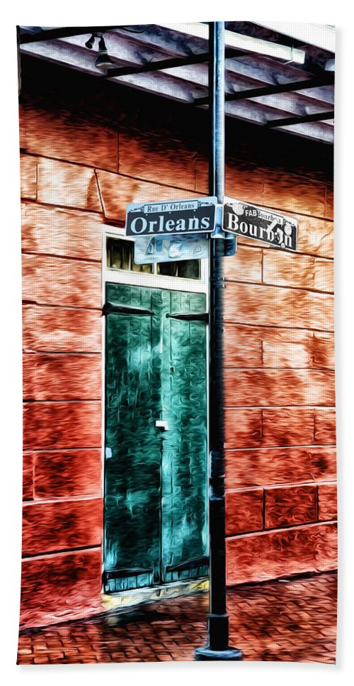Orleans And Bourbon Streets Hand Towel featuring the photograph Orleans And Bourbon Streets by Bill Cannon