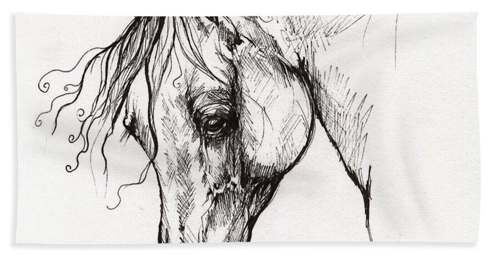 Horse Bath Sheet featuring the drawing Ostragon Polish Arabian Horse 1 by Angel Ciesniarska