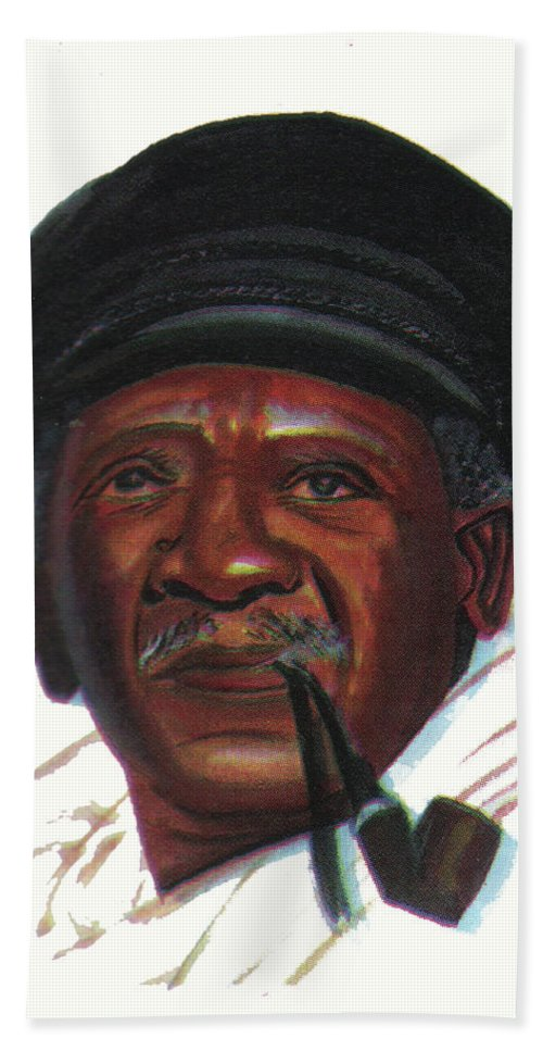 Portraits Bath Sheet featuring the painting Ousmane Sembene by Emmanuel Baliyanga