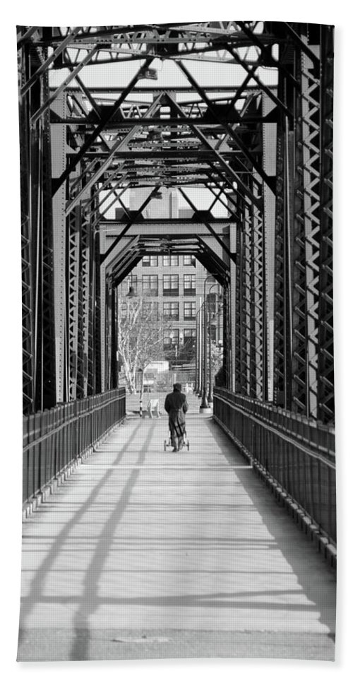 Androscoggin River Bridge Hand Towel featuring the photograph Out For A Stroll by Guy Whiteley
