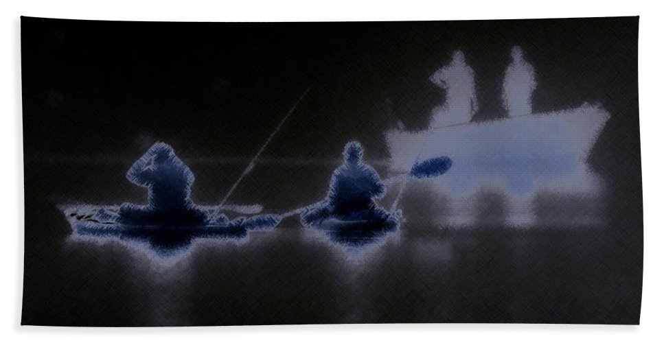 digitally Enhanced Photograph fishing In The Fog Fishing Bath Sheet featuring the photograph Out Of The Darkness by Myrna Bradshaw