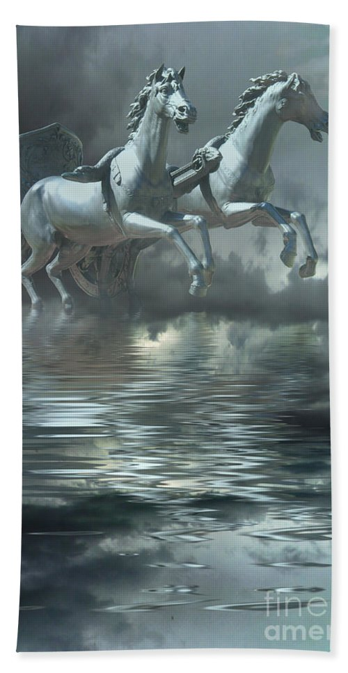Horses Bath Sheet featuring the digital art Out Of The Mist by Peggy Starks