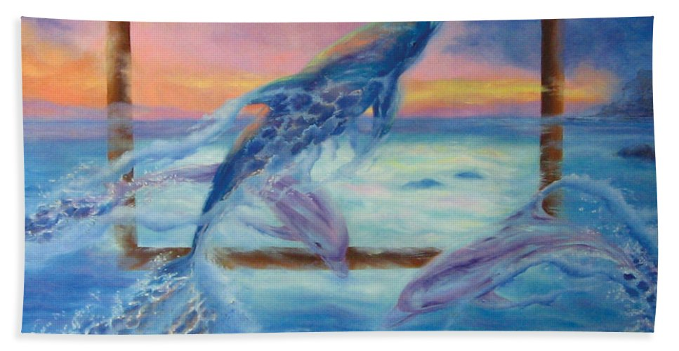 Dolphins Hand Towel featuring the painting Outside The Frame by Diane Quee