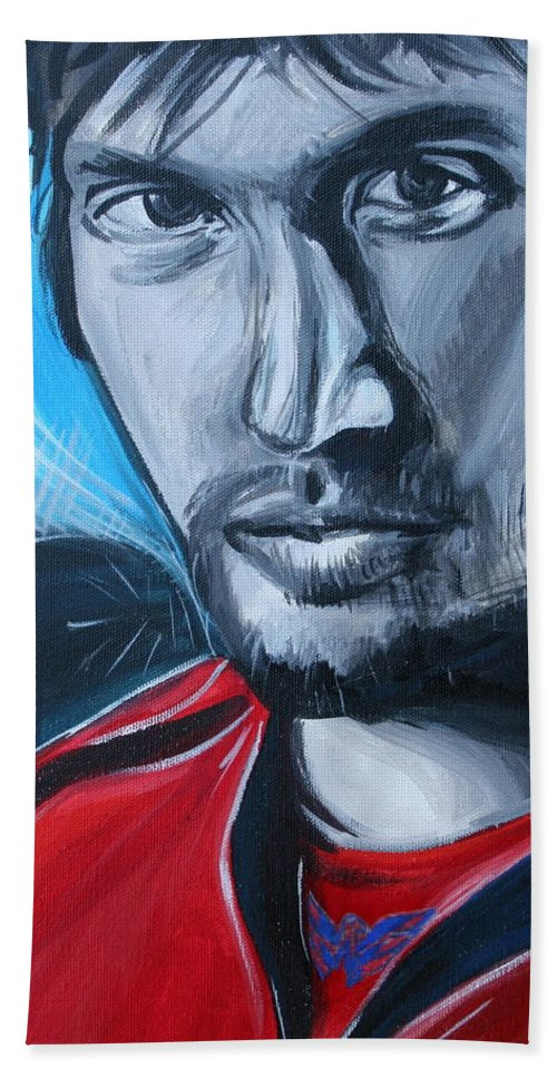 Alex Ovechkin Bath Towel featuring the painting Ovechkin by Kate Fortin