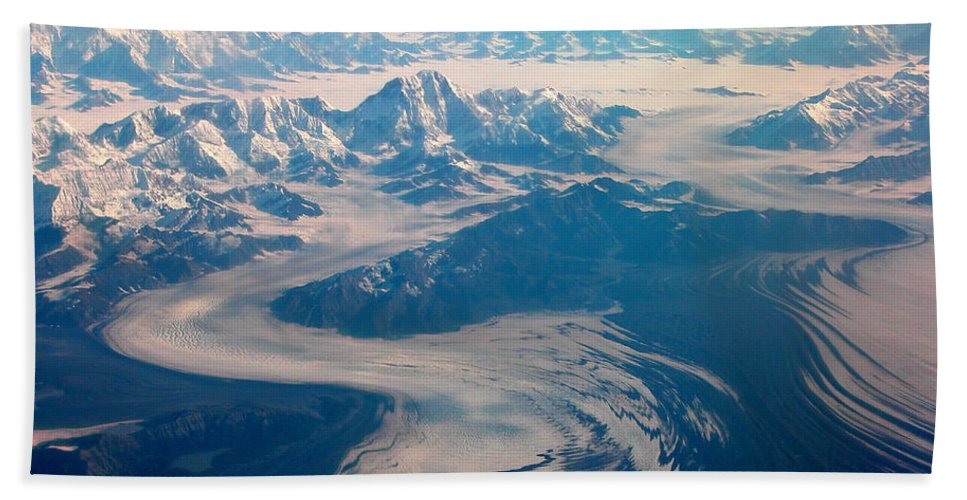 Glaciers Bath Sheet featuring the photograph Over Alaska by Peggy Starks