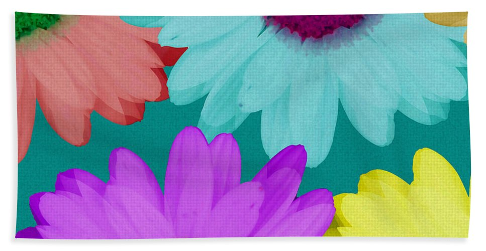 Daisy Hand Towel featuring the mixed media Oversize Daisies Two by Ruth Palmer