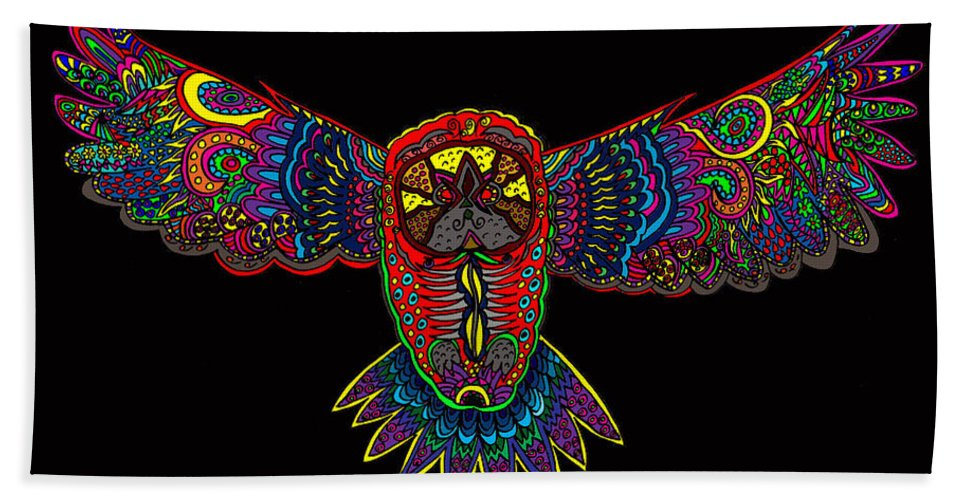Owl Hand Towel featuring the painting Owl 1 by Karen Elzinga