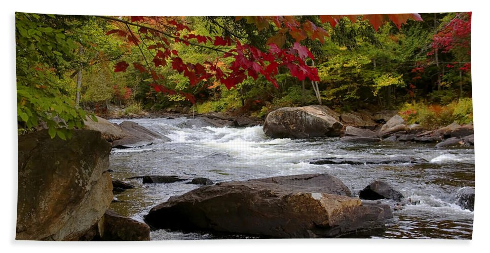 Canada Bath Sheet featuring the digital art Ox Tongue River Algonquin by Pat Speirs