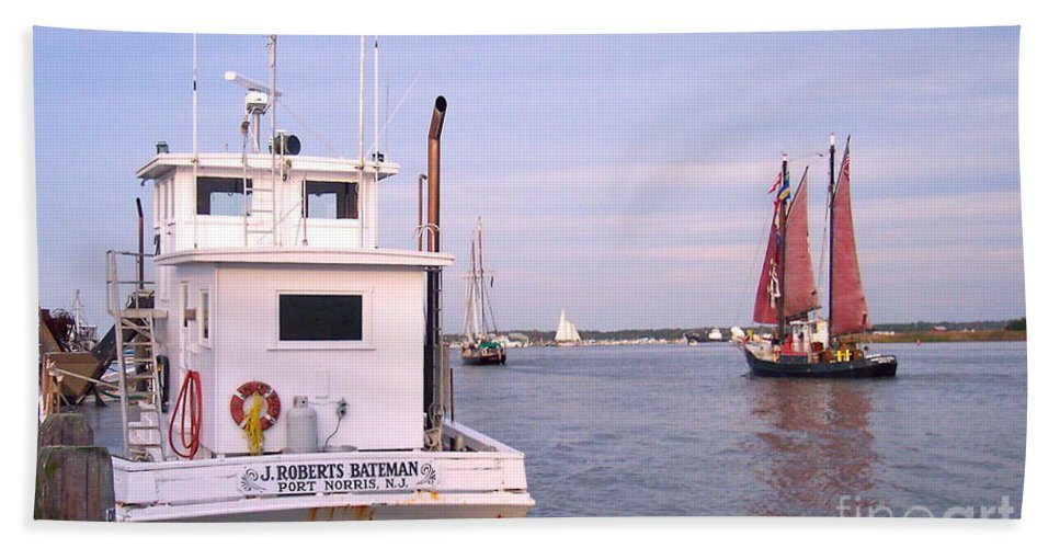 Oyster Boat Bath Sheet featuring the photograph Oyster Boat On The River by Nancy Patterson