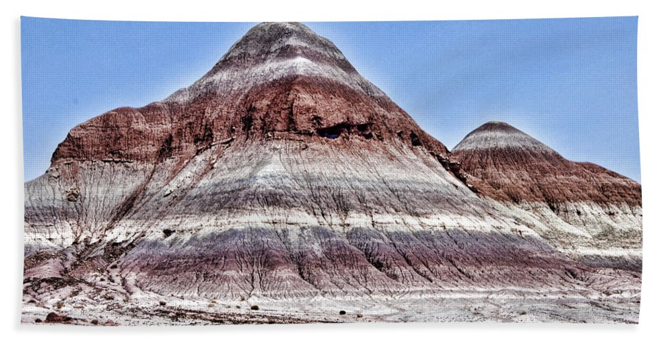 Petrified Forest Hand Towel featuring the photograph Painted Desert Mounds by Jon Berghoff