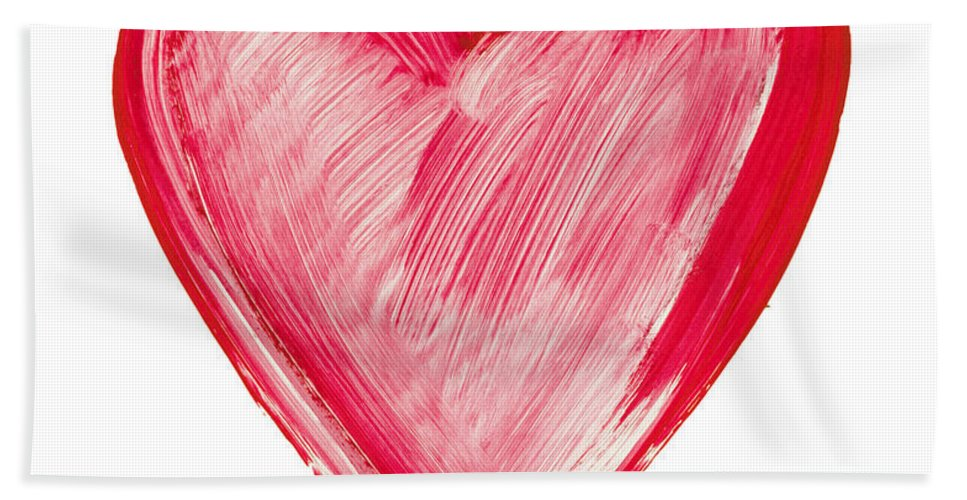 Love Bath Sheet featuring the painting Painted Heart - Symbol Of Love by Michal Boubin