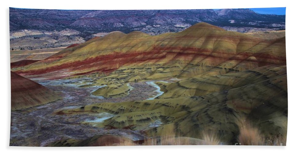 John Day Fossil Beds Hand Towel featuring the photograph Painted Hills At Dusk by Adam Jewell