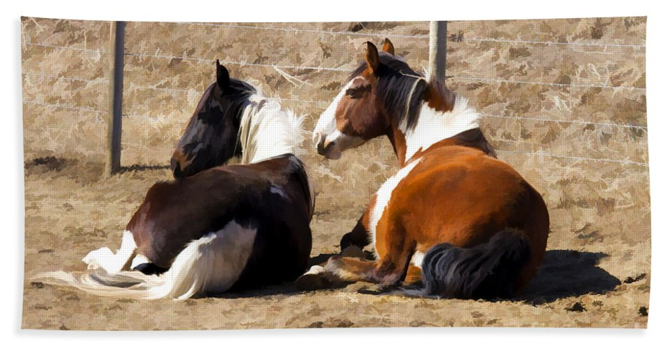 Photo Bath Sheet featuring the photograph Painted Horses I by Angelique Olin