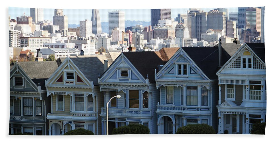 San Francisco Bath Sheet featuring the photograph Painted Ladies by Linda Woods
