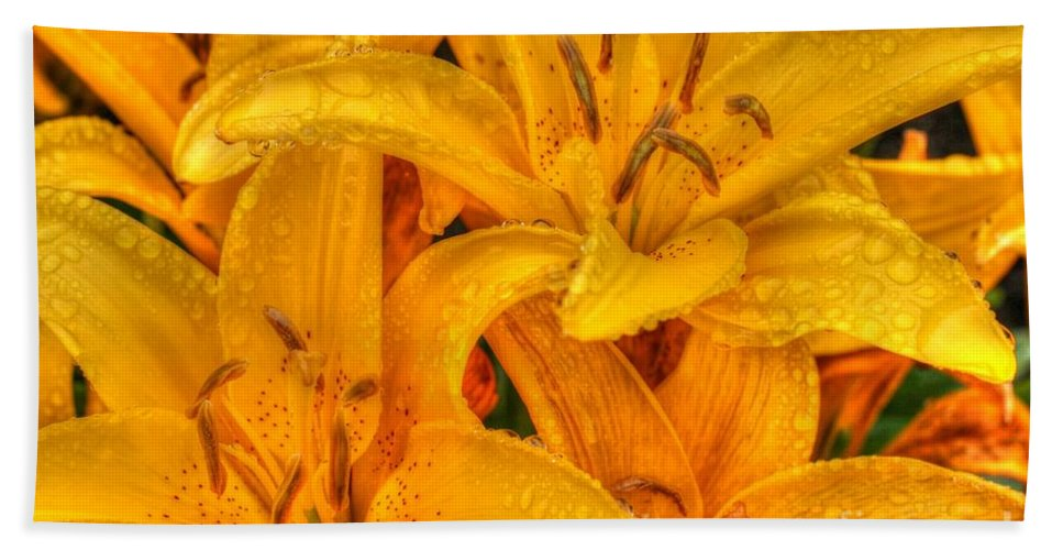 Yellow Bath Sheet featuring the photograph Painted Lily by Tap On Photo