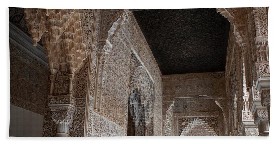 Granada Bath Sheet featuring the photograph Palace Stonework by Lorraine Devon Wilke