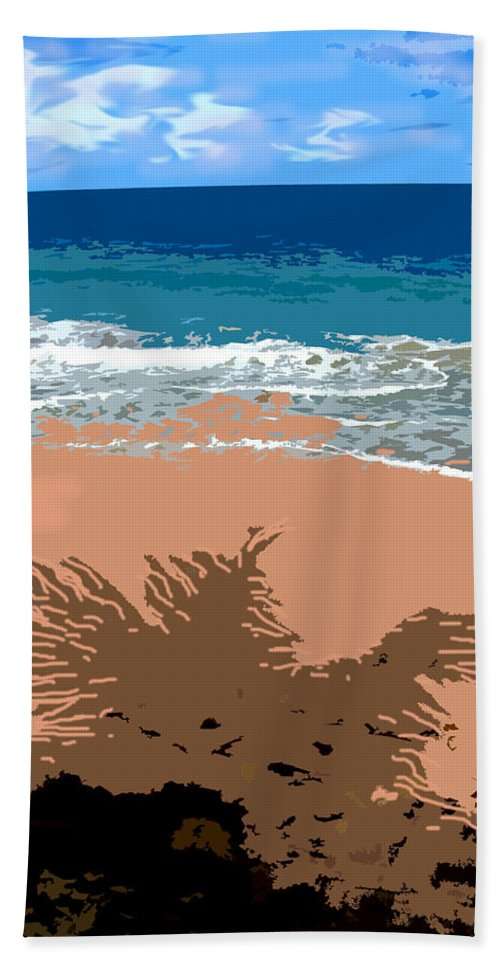 Palm Bath Sheet featuring the photograph Palm Shadow On The Beach by Ian MacDonald
