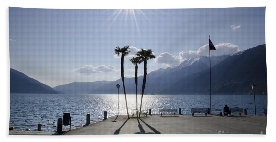 Palm Trees Bath Sheet featuring the photograph Palm Trees With Shadows On The Lakefront by Mats Silvan