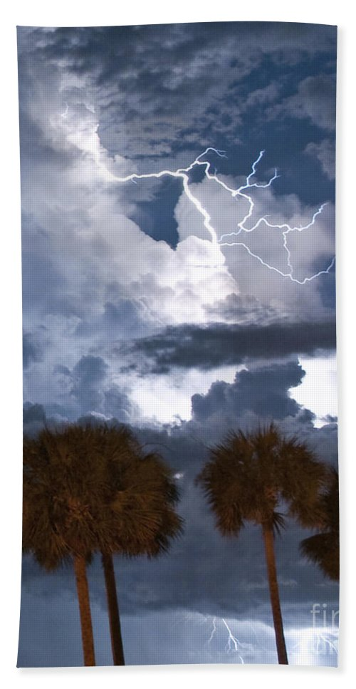 Lightning Bath Sheet featuring the photograph Palms And Lightning 4 by Stephen Whalen
