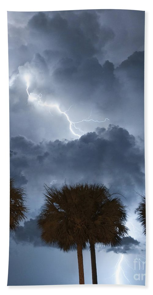 Lightning Bath Sheet featuring the photograph Palms And Lightning 5 by Stephen Whalen