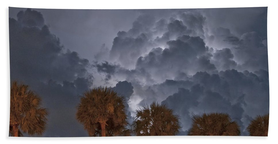 Lightning Bath Sheet featuring the photograph Palms And Lightning 7 by Stephen Whalen