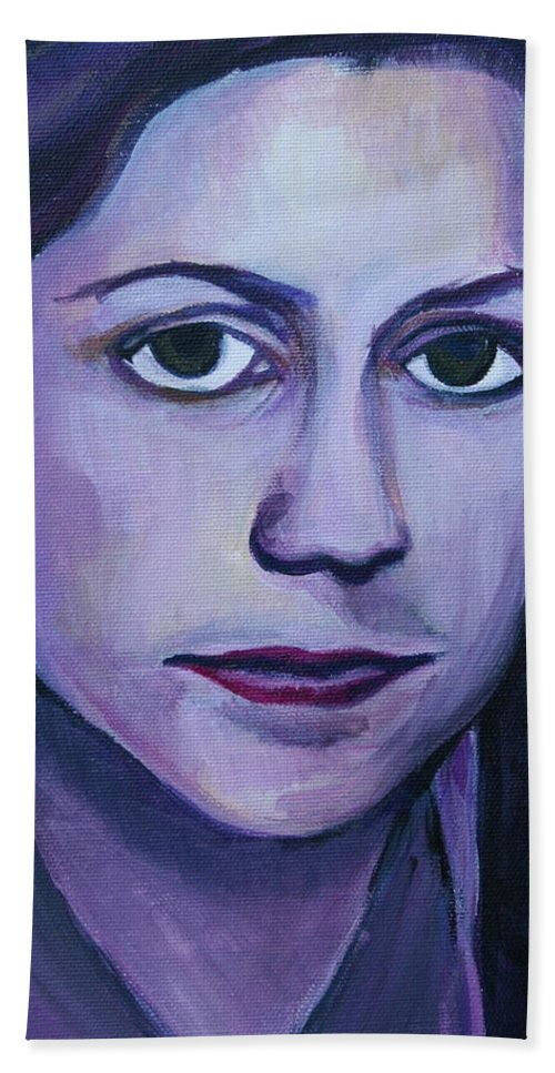 Pam Hand Towel featuring the painting Pam by Kate Fortin