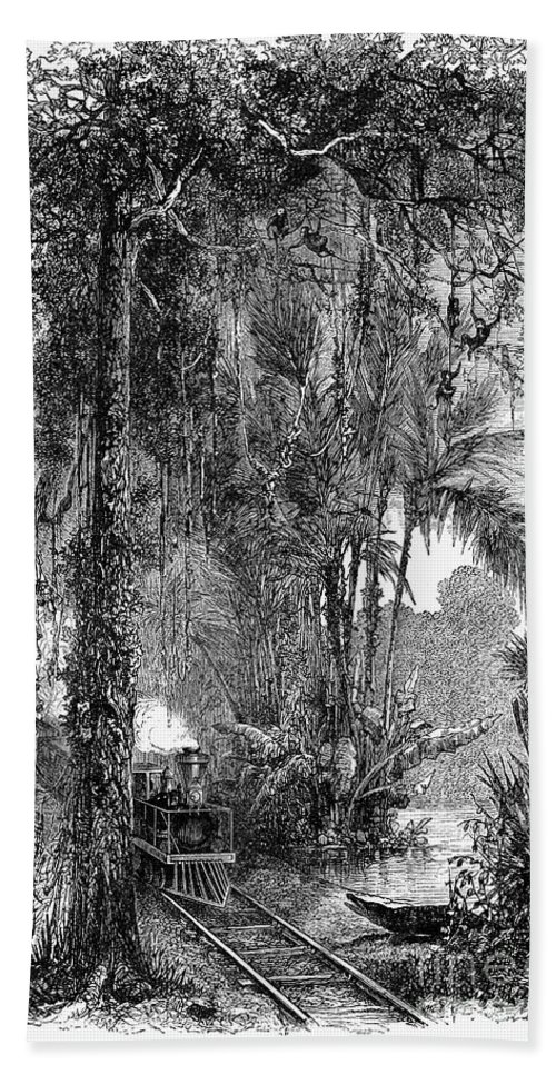 1875 Bath Sheet featuring the photograph Panama Railway, 1875 by Granger